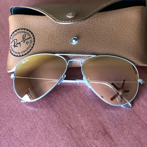 069effbc1b2 NEW Ray-Ban large aviator mirror silver sunglasses